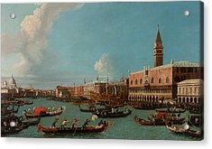 View Of Venice With The Doge Palace And The Salute Acrylic Print by Canaletto