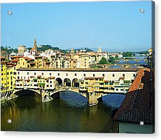 View On Ponte Vecchio From Uffizi Gallery Acrylic Print by Irina Sztukowski