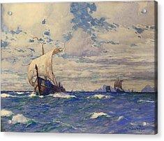 Viking Ships At Sea Acrylic Print by Pg Reproductions