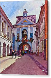 Vilnius Old Town Golden Gate 1 Acrylic Print by Yury Malkov