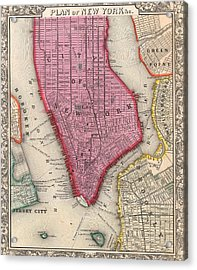 Vintage 1860 New York City Map Acrylic Print by Dan Sproul