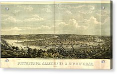 Vintage 1874 Pittsburgh Aerial Map Acrylic Print by Dan Sproul
