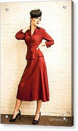 Vintage 1940's Style Fashion Plate Acrylic Print by Diane Diederich