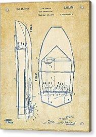 Vintage 1943 Chris Craft Boat Patent Artwork Acrylic Print by Nikki Marie Smith