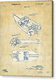 Vintage 1972 Chris Craft Boat Patent Artwork Acrylic Print by Nikki Marie Smith