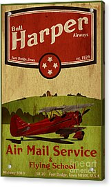 Vintage Air Mail Service Acrylic Print by Cinema Photography