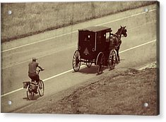 Vintage Amish Buggy And Bicycle Acrylic Print by Dan Sproul