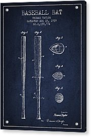 Vintage Baseball Bat Patent From 1939 Acrylic Print by Aged Pixel