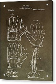 Vintage Baseball Mitt Patent Acrylic Print by Dan Sproul