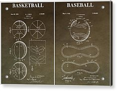 Vintage Basketball Baseball Patent Acrylic Print by Dan Sproul