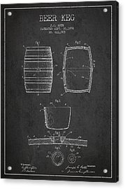 Vintage Beer Keg Patent Drawing From 1898 - Dark Acrylic Print by Aged Pixel