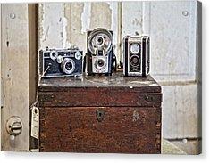 Vintage Cameras At Warehouse 54 Acrylic Print by Toni Hopper