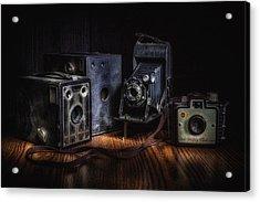 Vintage Cameras Still Life Acrylic Print by Tom Mc Nemar