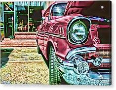 Vintage Chevy Art Alley Cat Rose Acrylic Print by Lesa Fine