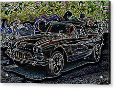 Vintage Chevy Corvette Black Neon Automotive Artwork Acrylic Print by Lesa Fine