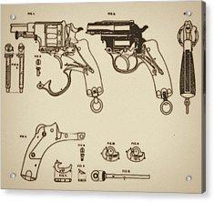 Vintage Colt Revolver Drawing Acrylic Print by Nenad Cerovic
