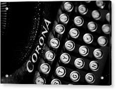 Vintage Corona Four Typewriter Acrylic Print by Jon Woodhams