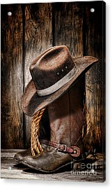 Vintage Cowboy Boots Acrylic Print by Olivier Le Queinec