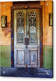 vintage door in Hico TX Acrylic Print by Elena Nosyreva
