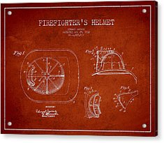 Vintage Firefighter Helmet Patent Drawing From 1932-red Acrylic Print by Aged Pixel