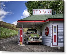 Vintage Gas Station - Chevy Pick-up Acrylic Print by Nikolyn McDonald
