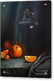 Vintage Glass Jug And  Oranges Acrylic Print by Viktoria K Majestic