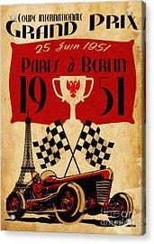 Vintage Grand Prix Paris Acrylic Print by Cinema Photography