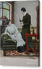 Vintage Handtinted Postcard Of 1904 Of Two Lovers Acrylic Print by Patricia Hofmeester