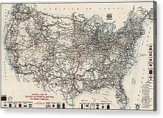 Vintage Highway Map Of The United States By The American Automobile Association - 1918 Acrylic Print by Blue Monocle