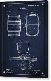 Vintage Keg Or Barrel Patent Drawing From 1898 - Navy Blue Acrylic Print by Aged Pixel