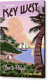 Vintage Key West Travel Poster Acrylic Print by Jon Neidert