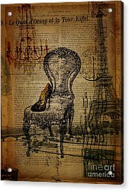 Vintage Lace Stiletto Rococo Chair Chandelier Paris Eiffel Tower Acrylic Print by Cranberry Sky