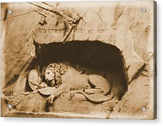 Vintage Lion Of Lucerne Acrylic Print by Dan Sproul