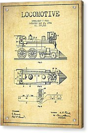 Vintage Locomotive Patent From 1904 - Vintage Acrylic Print by Aged Pixel