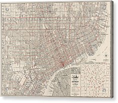 Vintage Map Of Detroit Michigan From 1947 Acrylic Print by Blue Monocle