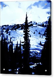 Vintage Mount Rainier With Camp Grounds In The Distance Early 1900 Era... Acrylic Print by Eddie Eastwood