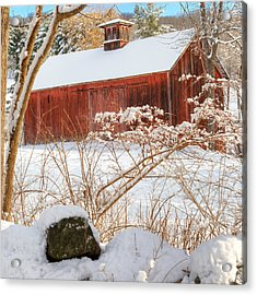 Vintage New England Barn Portrait Square Acrylic Print by Bill Wakeley