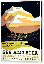 Vintage Poster - Montana Acrylic Print by Benjamin Yeager