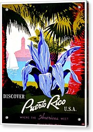 Vintage Poster - Puerto Rico Acrylic Print by Benjamin Yeager
