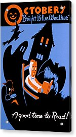 Vintage Poster - Reading - October Acrylic Print by Benjamin Yeager