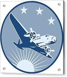 Vintage Propeller Airplane Retro Acrylic Print by Aloysius Patrimonio