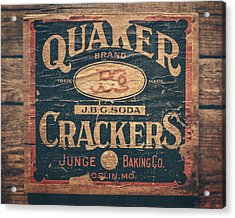 Vintage Quaker Crackers For The Kitchen Acrylic Print by Lisa Russo