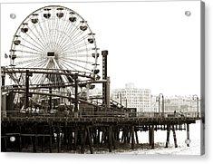 Vintage Santa Monica Pier Acrylic Print by John Rizzuto