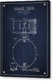 Snare Drum Patent Drawing From 1939 - Blue Acrylic Print by Aged Pixel