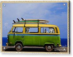 Vintage Surf Van Acrylic Print by Diane Diederich