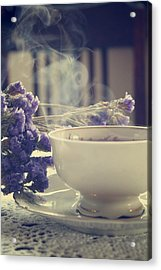 Vintage Tea Set With Purple Flowers Acrylic Print by Cambion Art