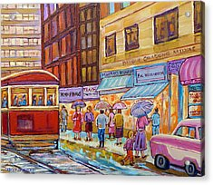 Vintage Tram Car-montreal Downtown Scene-classic Chevy Car Acrylic Print by Carole Spandau