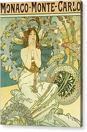 Vintage Travel Poster For Monaco Monte Carlo Acrylic Print by Alphonse Marie Mucha