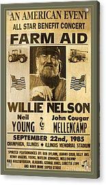 Vintage Willie Nelson 1985 Farm Aid Poster Acrylic Print by John Stephens