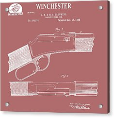 Vintage Winchester Firearm Patent Acrylic Print by Dan Sproul
